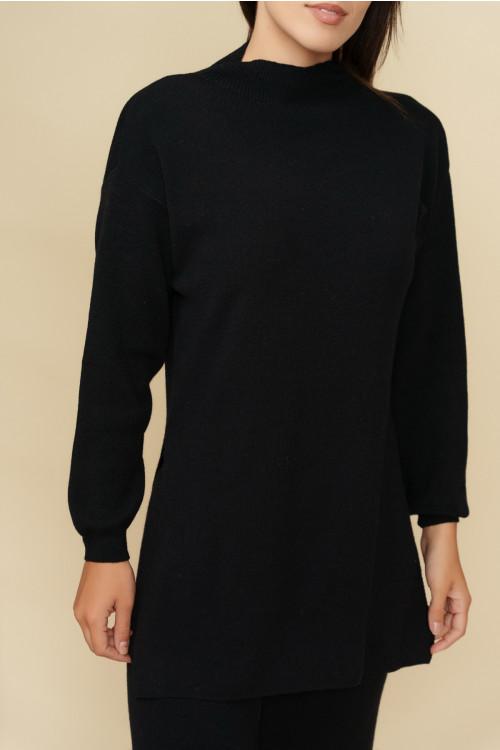 Compleu dama tricotat S9090 Negru