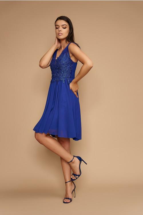 Rochie de seara cu dantela 8675AR albastra