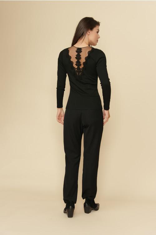 Bluza dama cu insertie tull GK1 Neagra