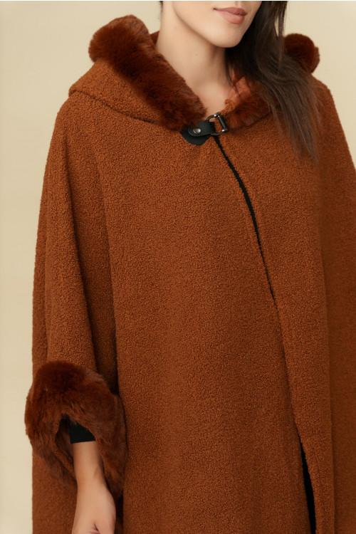 Poncho dama cu gluga 27160 Camel