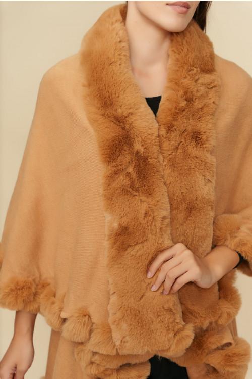 Poncho cu blana ecologica 2379 Camel