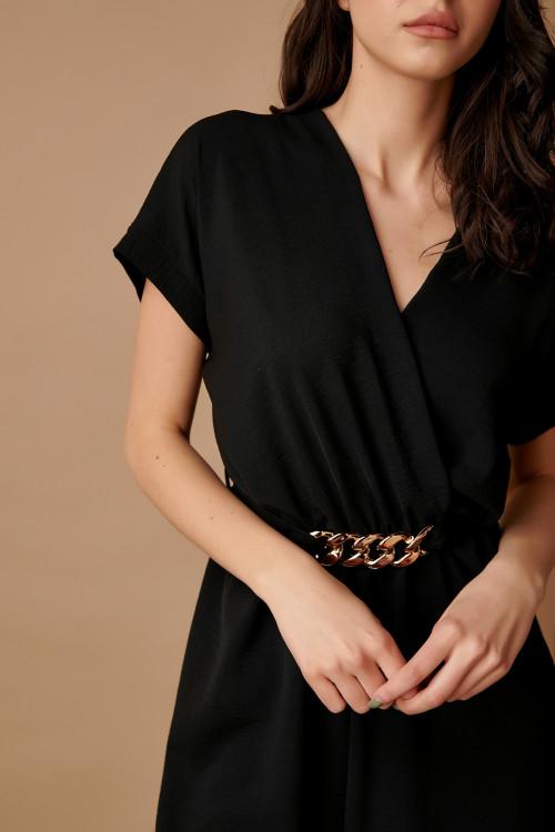 Salopeta dama cu accesoriu in talie B2223 Neagra