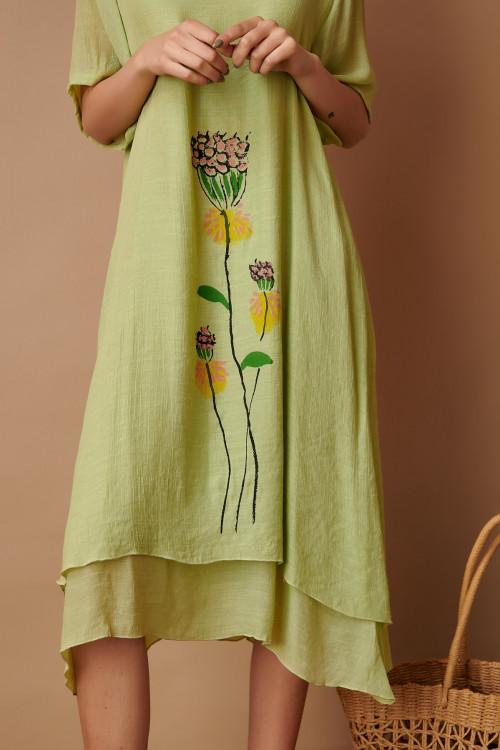 Rochie asimetrica cu floare pictata C852 Verde deschis