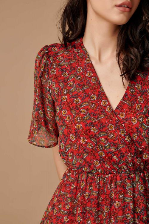 Rochie asimetrica cu print floral CY1148 Rosu