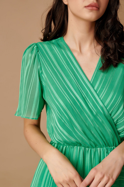 Rochie eleganta cu dungi satinate CY606 Verde