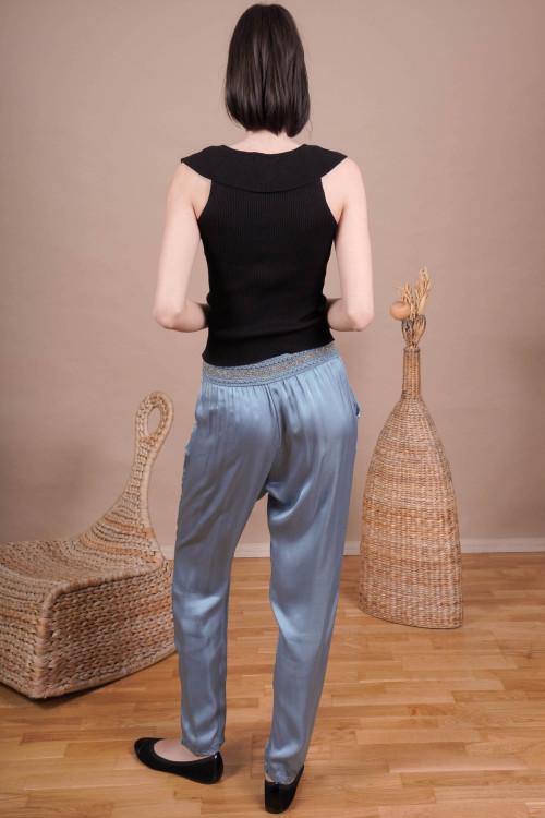 Pantaloni cu talie brodata 83113 Bleu