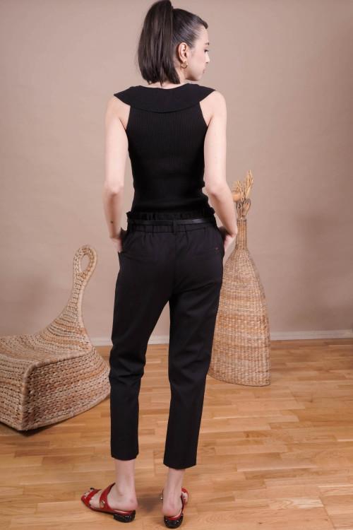 Pantaloni office cu buzunare L019-B Negri