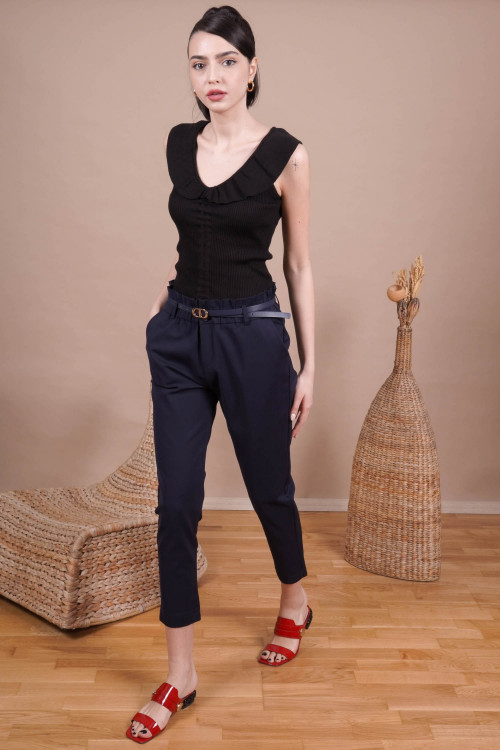 Pantaloni office cu buzunare L019-B Bleumarin