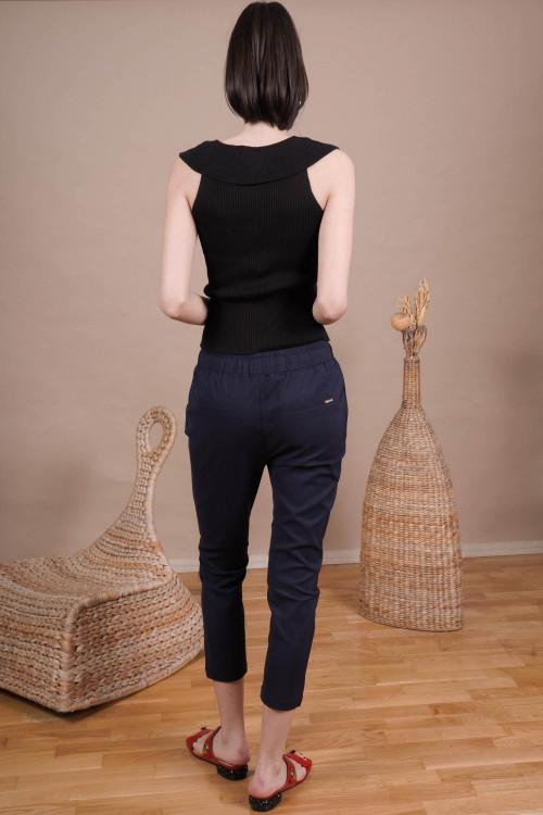 Pantaloni dama cu siret L008 Bleumarin