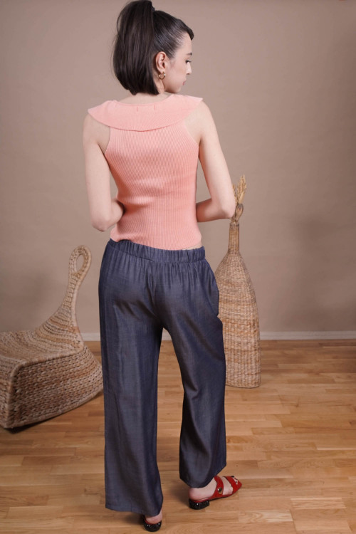 Pantaloni dama largi 112796 Bleumarin