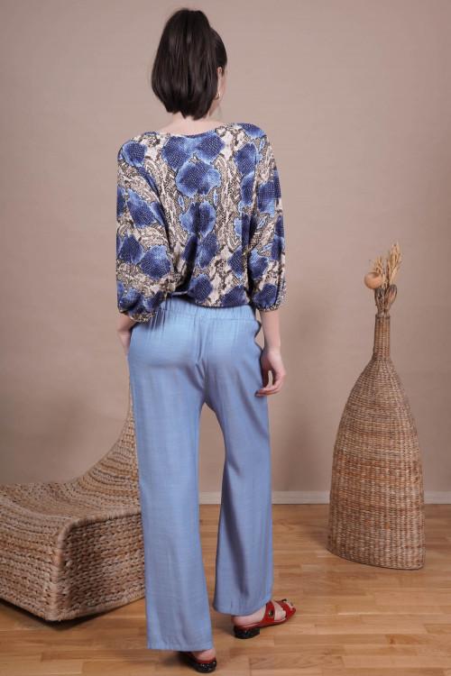 Pantaloni dama largi 112796 Bleu
