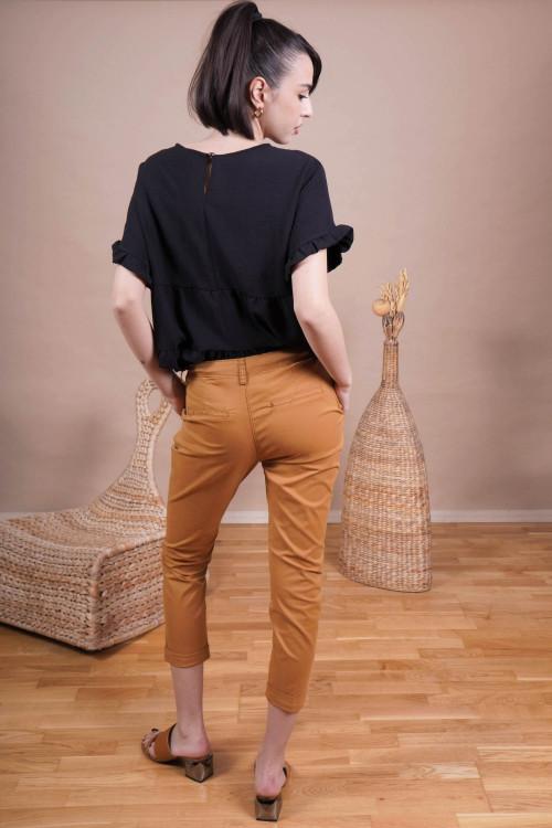 Pantaloni cropp cu pense Q1848-4 Mustar